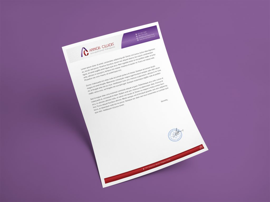 Branding Stationery-Letterhead Design- Anneri Cilliers