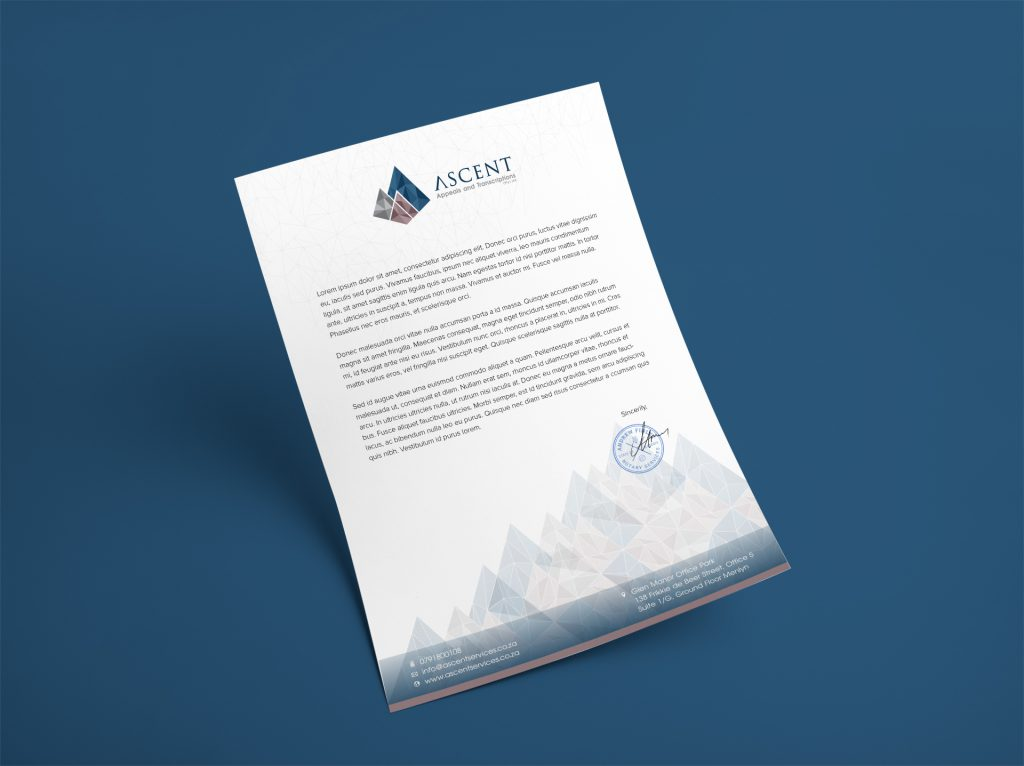 Branding Stationery-Letterhead Design- Ascent Appeals and Transcriptions