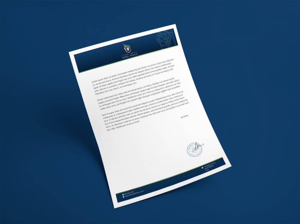 Branding Stationery-Letterhead Design- King Phalo