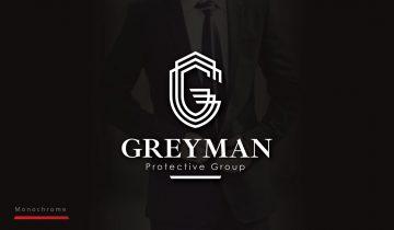 Greyman Protective Group Logo Design - Monochrome Inverted