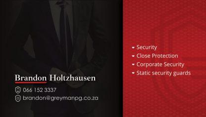 Greyman Protective Group Business Card Design Back