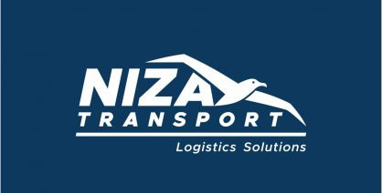 Niza Transport Logo Design Monochrome Inverted