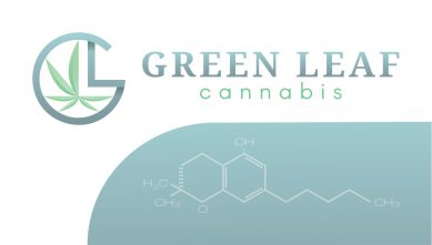 Green Leaf Cannabis Business Card Design - Front